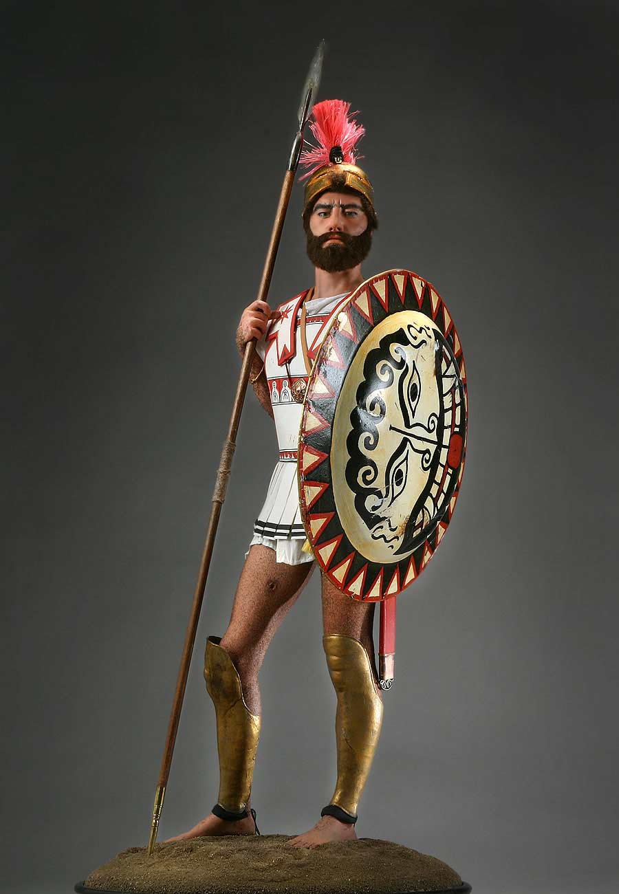 Full length color image of Greek Hoplite Warrior aka.