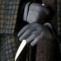 Left close up color image of Jack the Ripper aka. Whitechapel Murderer, by George Stuart.