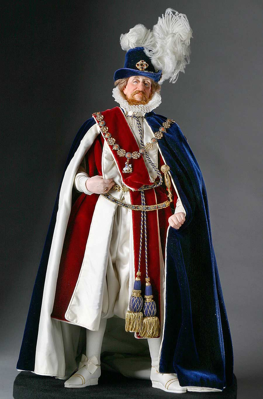 Full length color image of James I aka. James I of England, James VI of Scotland, The Second Solomon, by George Stuart.