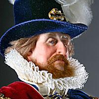 Left close up color image of James I aka. James I of England, James VI of Scotland, The Second Solomon, by George Stuart.