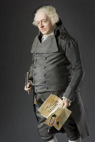 Portrait length color image of John Adams aka.