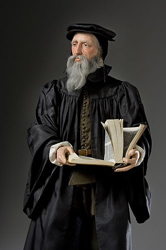 Portrait length color image of John Calvin aka. Jean Calvin, by George Stuart.