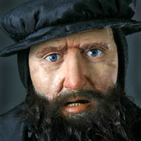Left close up color image of John Knox aka. Scottish Reformer, by George Stuart.