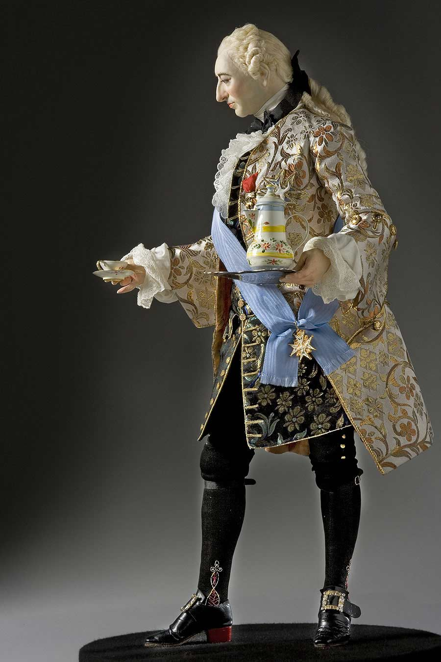 "Full length color image of Louis XV 1745 aka. Louis XV of France, ""Beloved to him"", by George Stuart."