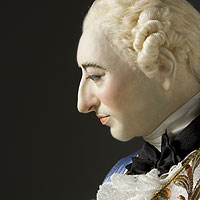 "Right closup color image of Louis XV 1745 aka. Louis XV of France, ""Beloved to him"", by George Stuart."