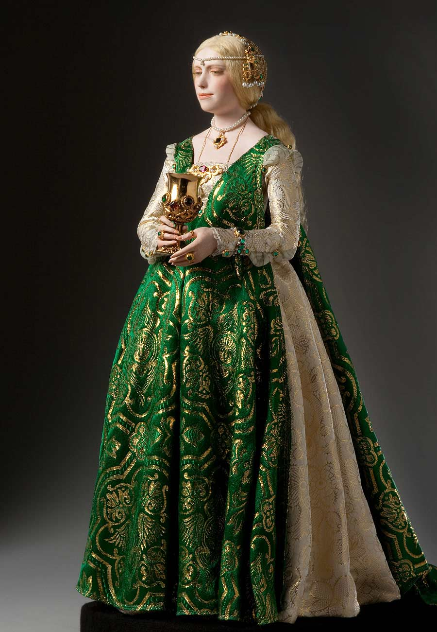 Full length color image of Lucrezia Borgia aka. Duchess of Ferrara, by George Stuart.
