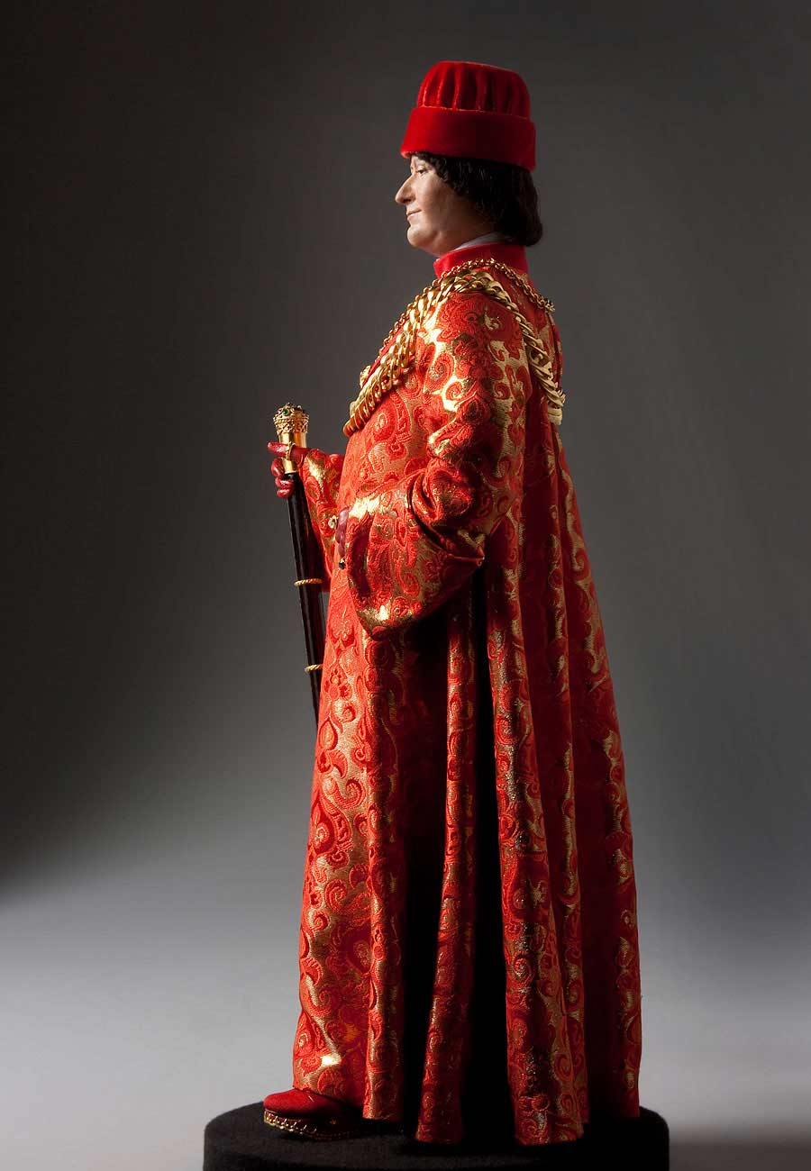 Full length color image of Ludovico Sforza aka. Ludovico il Moro, by George Stuart.