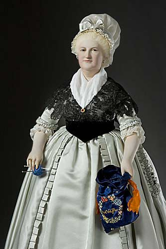 Portrait length color image of Martha Washington (First Lady), by George Stuart.