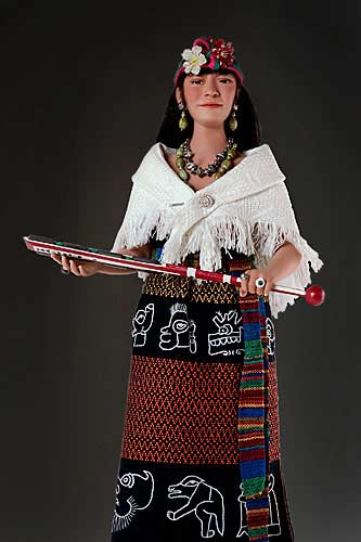 Portrait length color image of Malinche aka.  Doña Marina, by George Stuart.
