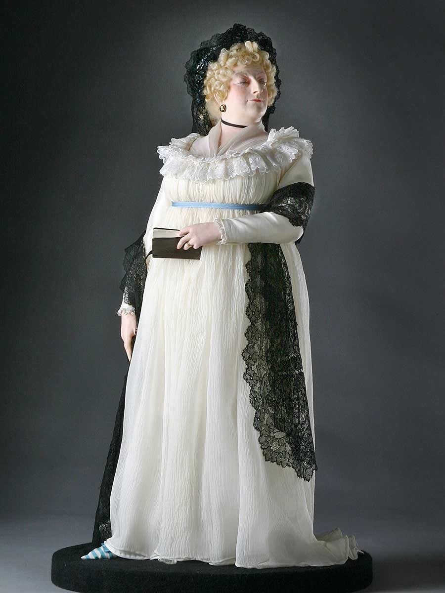 Full length color image of Maria Fitzherbert  (Older) aka. Maria Anne Smythe, by George Stuart.