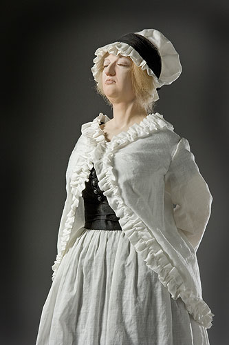 Portrait length color image of Marie Antoinette (at guillotine), by George Stuart.
