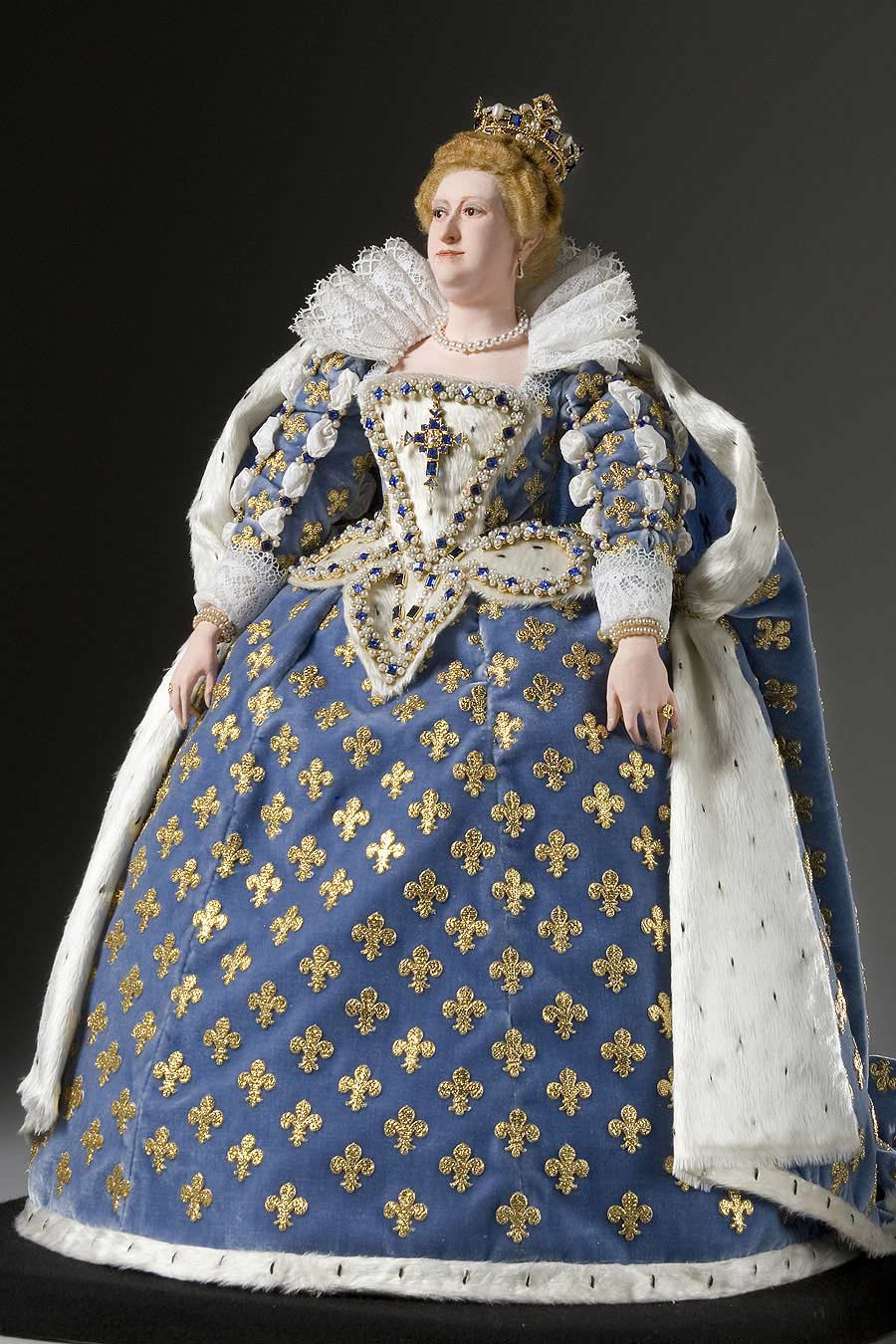 Full length color image of Marie de Medici aka. Maria of Tuscanny, by George Stuart.
