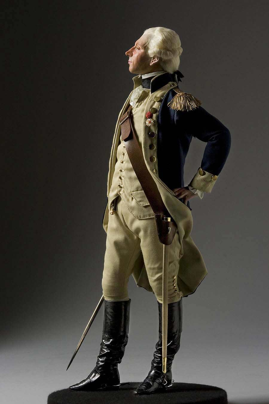 Full length color image of Marquis de Lafayette aka. Marie-Joseph Paul Yves Roch Gilbert du Motier, by George Stuart.