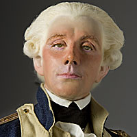 Right closup color image of Marquis de Lafayette aka. Marie-Joseph Paul Yves Roch Gilbert du Motier, by George Stuart.