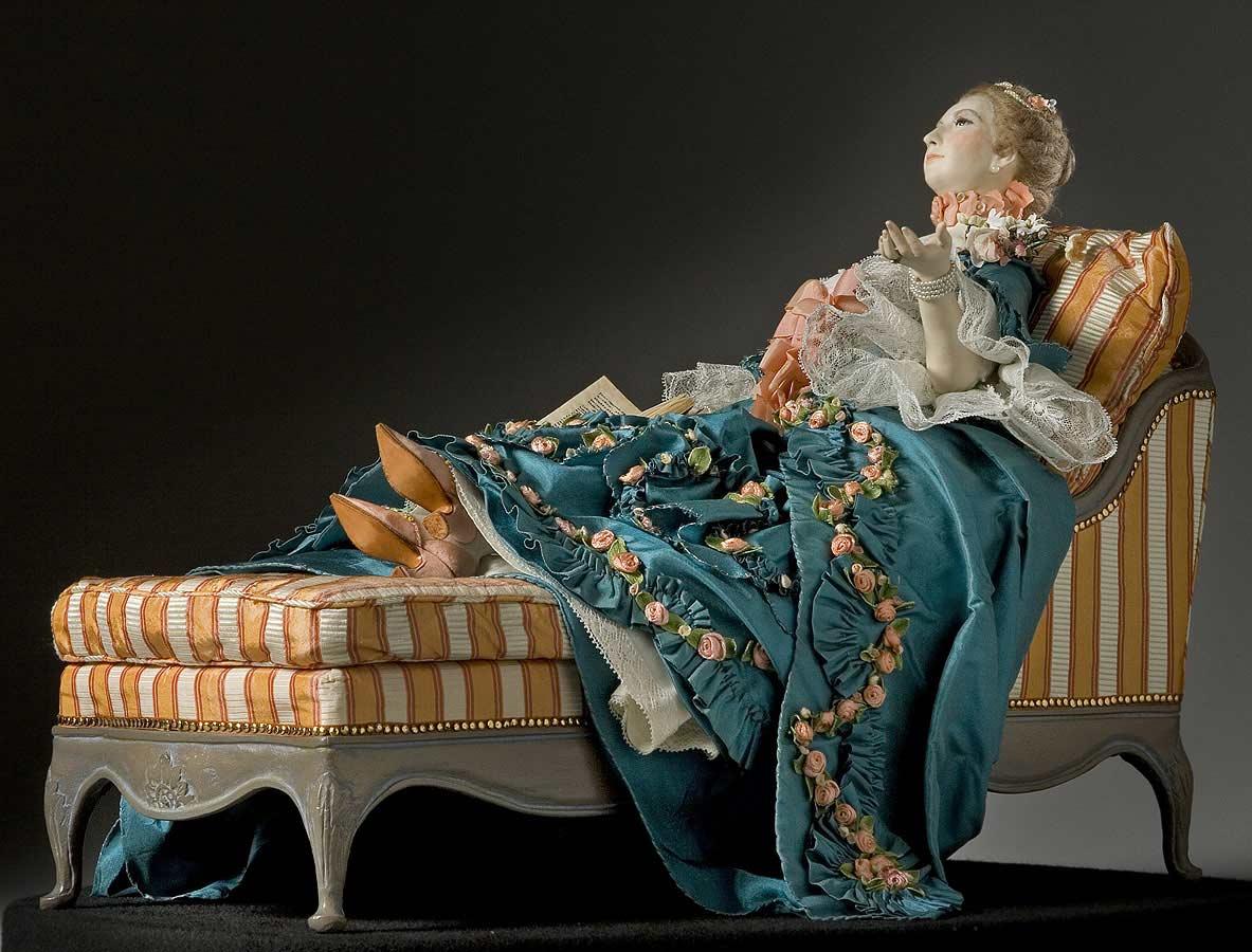 Full length color image of  Madame de Pompadour (reclined) aka.