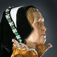 Left close up color image of Mary Tudor aka. Mary I of England,  Bloody Mary, by George Stuart.