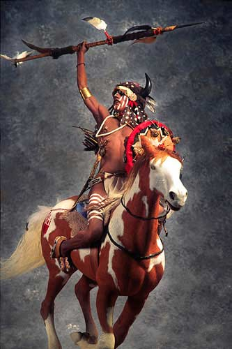 Portrait length color image of Mounted Lakota Warrior, by George Stuart.