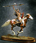 Thumbnail color image of Mounted Lakota Warrior, by George Stuart.
