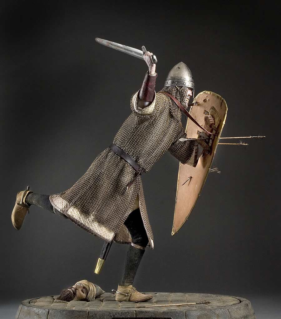 Full length color image of Norman Knight  aka. Crusader, by George Stuart.