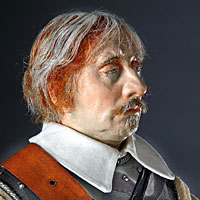 Left close up color image of Oliver Cromwell aka. Lord Protector, by George Stuart.