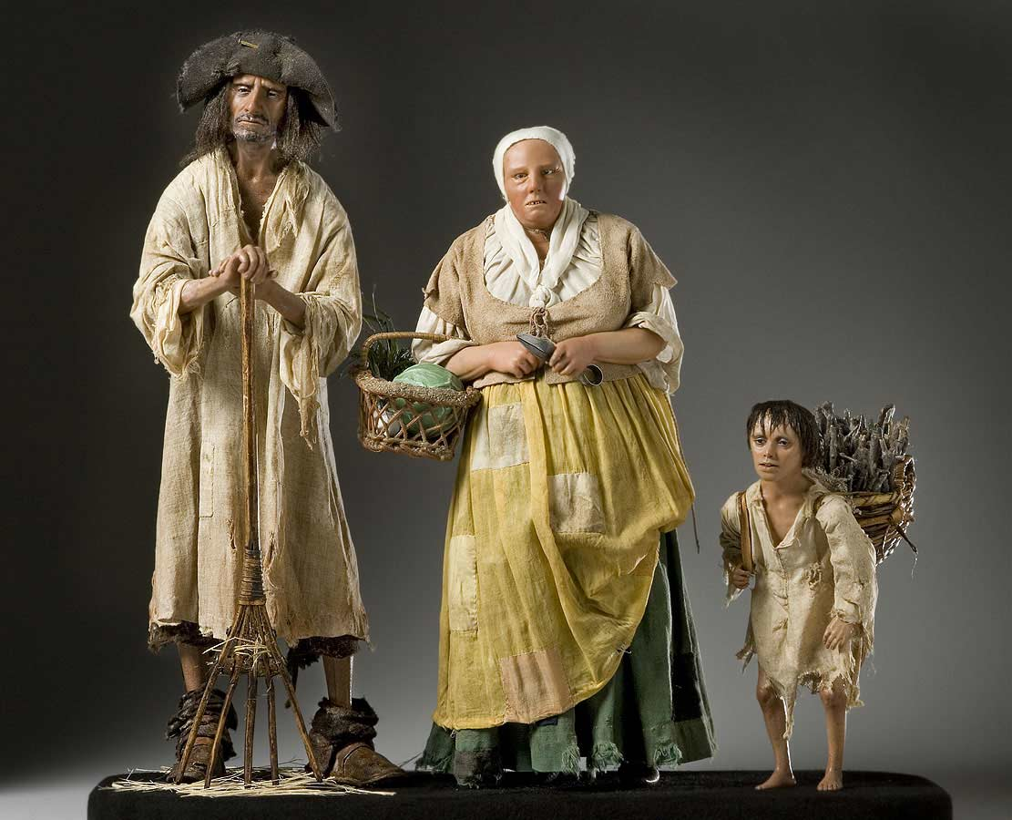 Full length color image of French Peasant Family aka.
