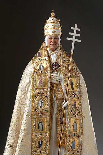 Portrait length color image of Pope Alexander VI 1492 aka. Roderic Llançol, by George Stuart.