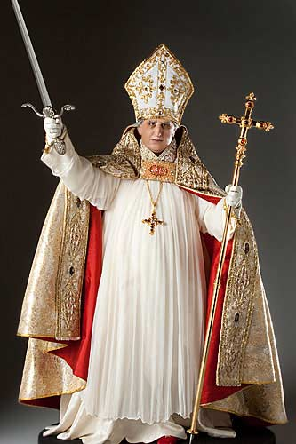 Portrait length color image of Pope Alexander VI 1496 aka. Rodrigo Borgia, by George Stuart.
