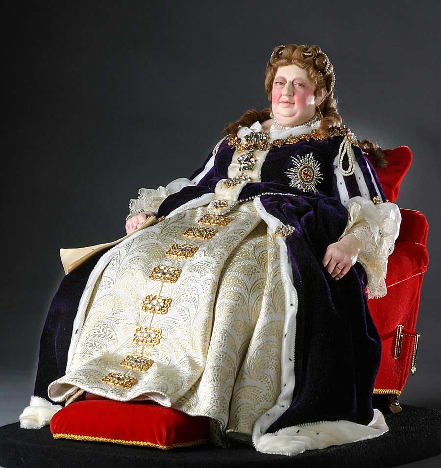 Full length color image of Queen Anne aka. Queen of Great Britain and Ireland, by George Stuart.