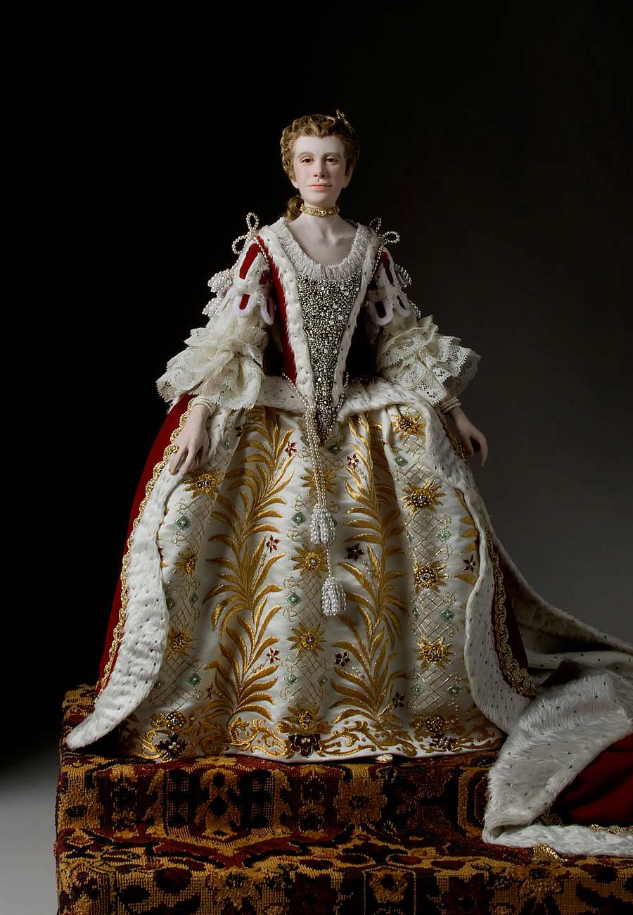 Full length color image of Queen Charlotte Sophia  1761 aka. Charlotte Sophia of Mecklenburg-Strelitz, by George Stuart.