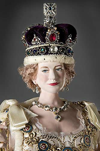 Portrait length color image of Elizabeth II aka. Queen of the United Kingdom , by George Stuart.