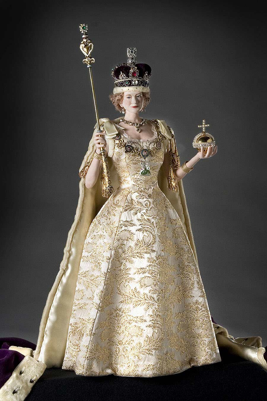 Full length color image of Elizabeth II aka. Queen of the United Kingdom , by George Stuart.