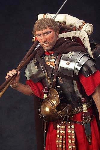 Portrait length color image of Roman Legionary  aka. Marius' Mule, by George Stuart.