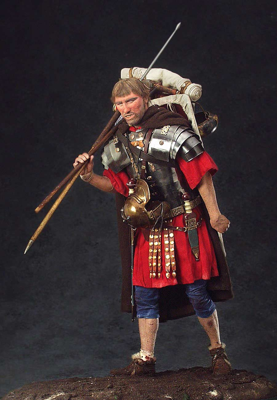 Full length color image of Roman Legionary  aka. Marius' Mule, by George Stuart.
