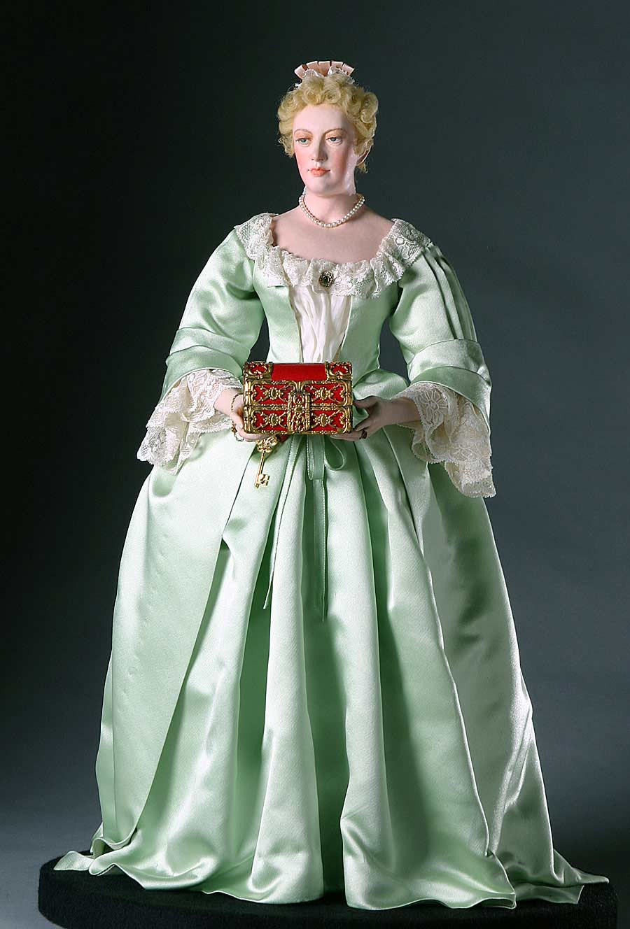 Full length color image of Sarah Churchill Duchess Marlborough aka. Sarah Jennings, by George Stuart.