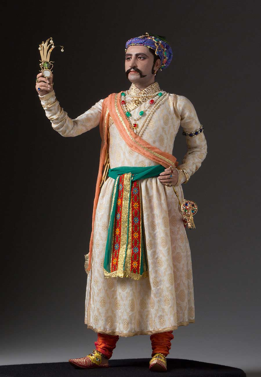 Full length color image of Shah Jahan aka. Shahabuddin Muhammad Shah Jahan, by George Stuart.