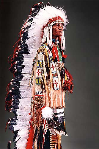 Portrait length color image of Sioux Chief, by George Stuart.