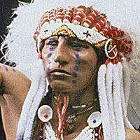 Right closup color image of Crow Warrior aka.  , by George Stuart.