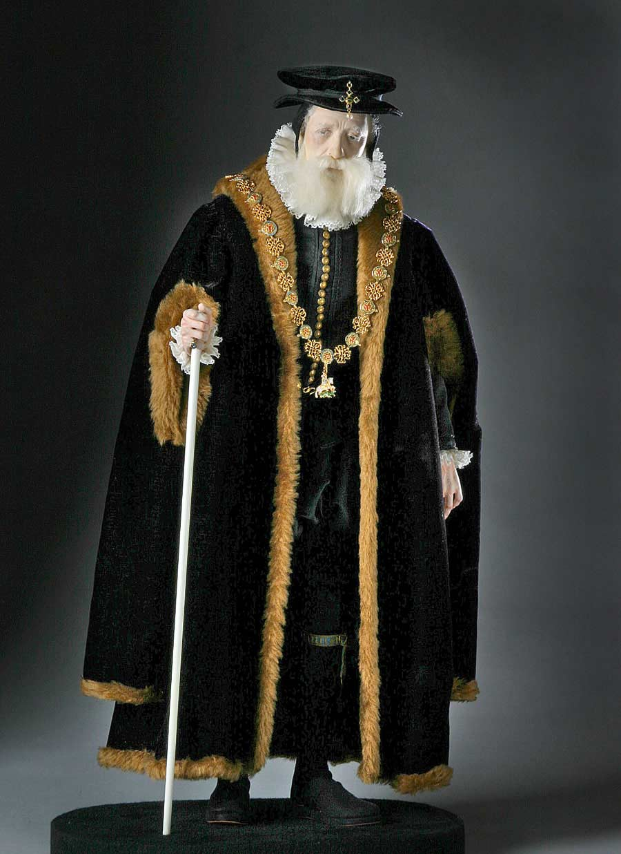 Full length color image of William Cecil aka. Lord Burghley, by George Stuart.