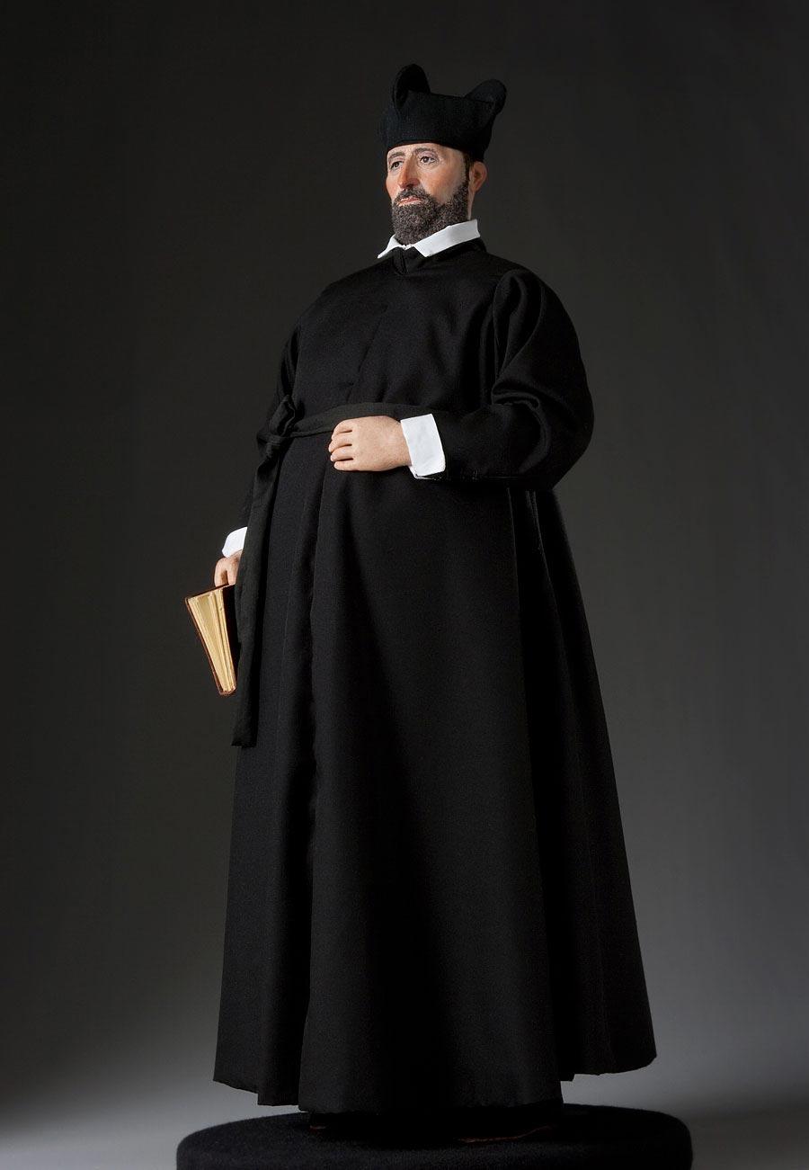Full length color image of St. Francis Borgia, by George Stuart.