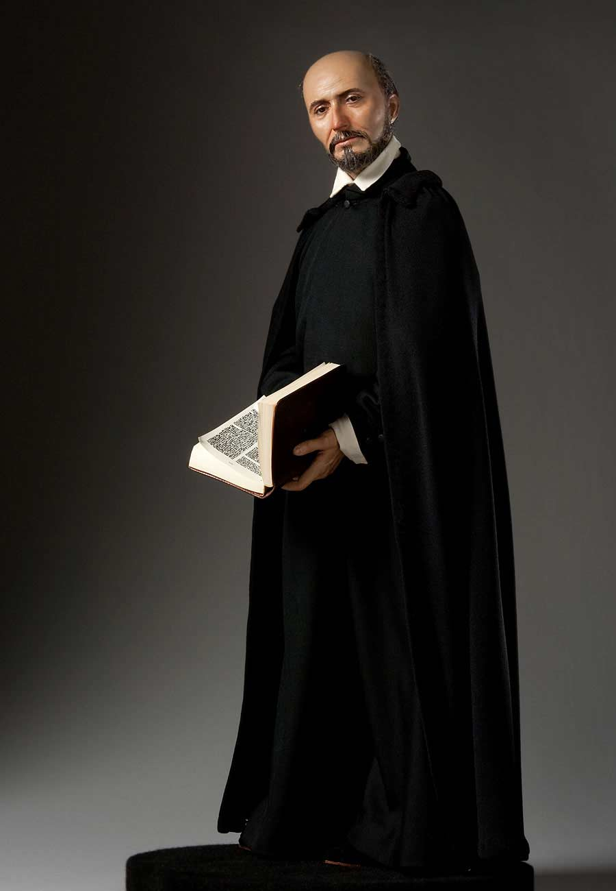 Full length color image of St. Ignatius de Loyola, by George Stuart.