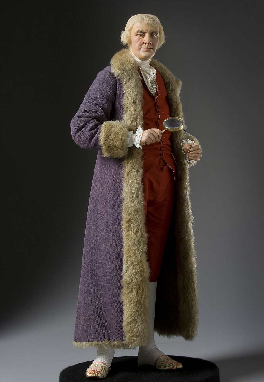 Full length color image of Thomas Jefferson aka.