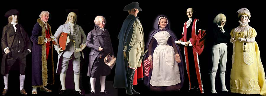 Selection of Historical Figures from the United States Revolutionary Period, including Patriots and Founders.