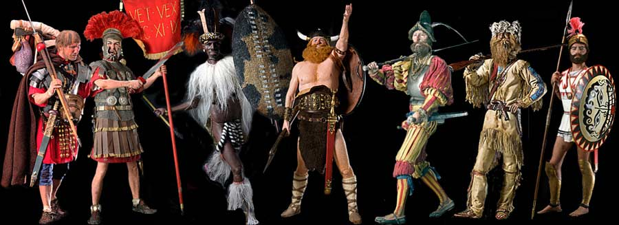 Image: Roman Centurion, Roman Legionary, Zulu Warrior, Boltar, Landsknecht, Mountain Man and Hoplite.