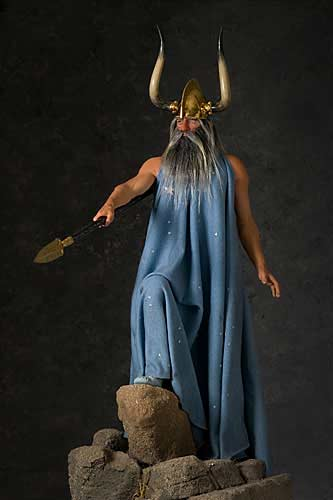 Portrait length color image of Wotan War God, by George Stuart.