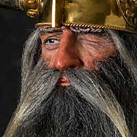 Right closup color image of Wotan War God, by George Stuart.