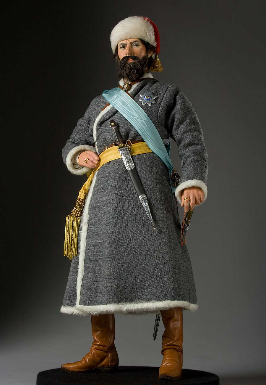 Full length color image of Yemelyan Pugachev aka. Емелья́н Ива́нович Пугачёв, by George Stuart.